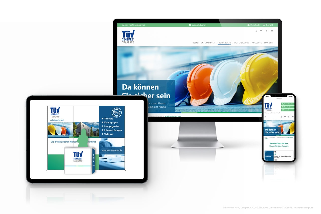 Redesign Website & Messestand TÜV Saarland Seminare GmbH   EXECdesign